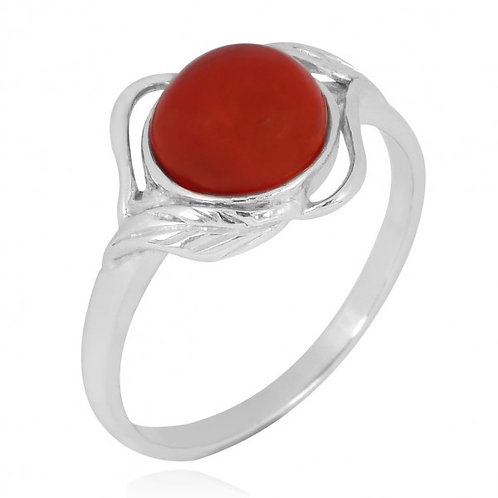 [NRB7481-CAR] Sterling Silver Carnelian Ring with Leaf Patterns