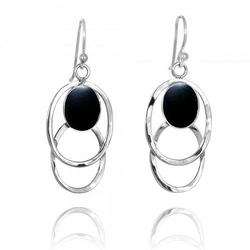 [NEA1852-BKON] Double Silver Oval Hoop Drop Earrings with Black Onyx