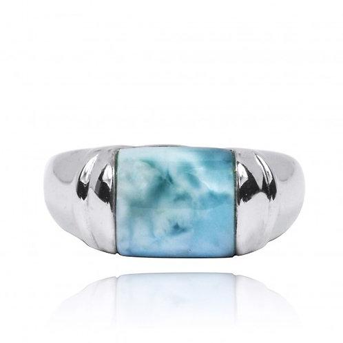 [NRB0764-LAR] Cushion Shape Larimar Gemstone Ring