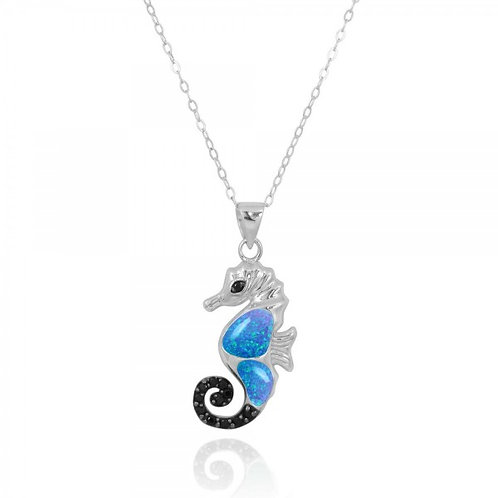[NP11309-BLOP-BKSP] Sea Horse Pendant with Blue Opal and Black Spinel