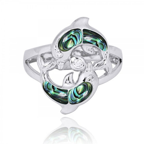 [NRB7223-ABL-WHCZ] Playing Sterling Silver Dolphins Ring with Abalon shell an