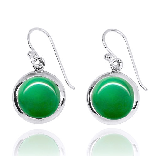 NEA3713-CRP - Round Shpe Chrysoprase Earrings - Gemstone Silver Jewelry
