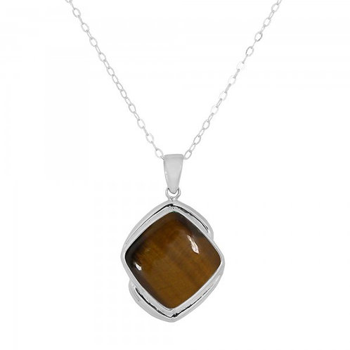[NP9806-BRTE] Cushion Shape Brown Tiger Eye Pendant
