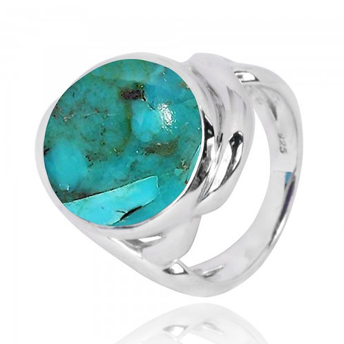 [NRB6618-GRTQ] Oval Shape Compressed Turquoise Cocktail Ring
