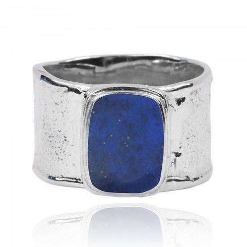 [NRB6141-LAP] Hammered Sterling Silver Israeli Style Cushion Shaped Lapis Ring