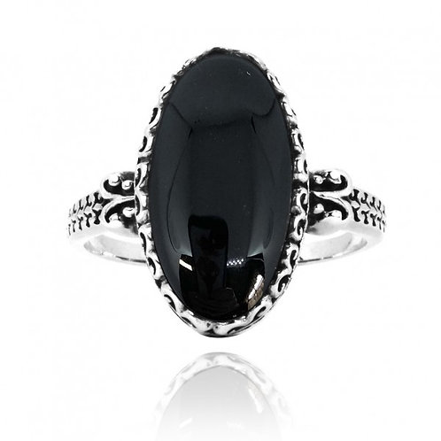 [NRB5213-BKON] Oval Shape Black Onyx Solitaire Ring