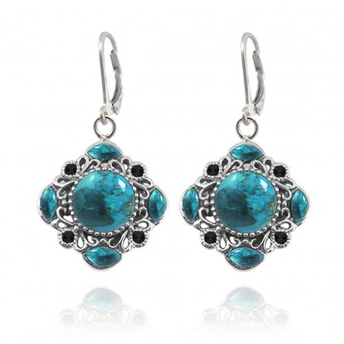 [NEA3085-GRTQ-BKSP] Round Shape Compressed Turquoise Cuffs Earrings