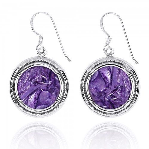 [NEA2714-CHR] Round Shape Charoite French Wire Earrings