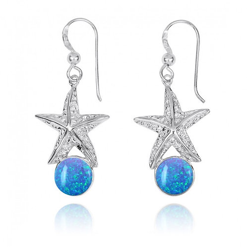 [NEA3244-BLOP] Sterling Silver Starfish French Wire Earrings with Round Blue Opa