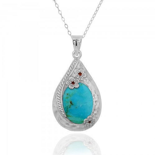 [NP11611-GRTQ] Sterling Silver Teardrop Pendant with Compressed Turquoise and Ga