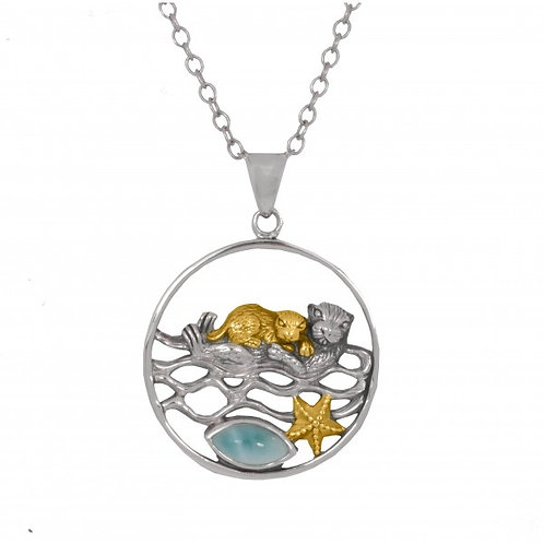 [NP12809-LAR-G] Mother Otter with Golden Baby Oxidized Silver Pendant with Marqu