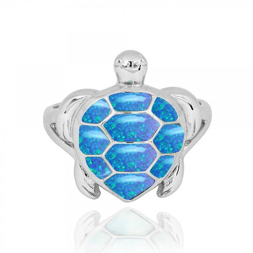 [NRB6917-BLOP] Sterling Silver Turtle Ring with Blue Opal