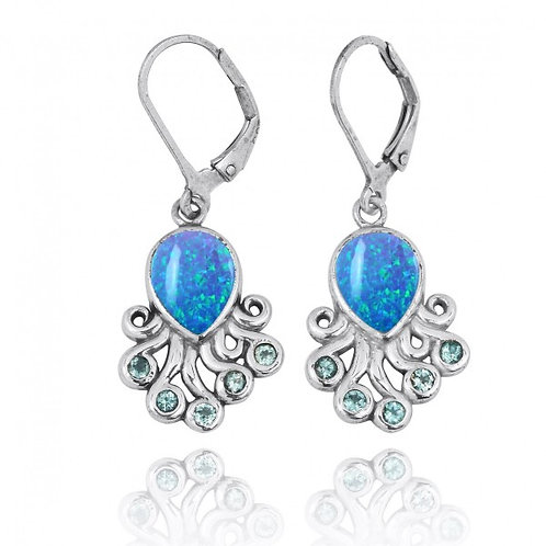 [NEA2792-BLOP-SWBLT] Sterling Silver Octopus with Blue Opal and Swiss Blue Topaz