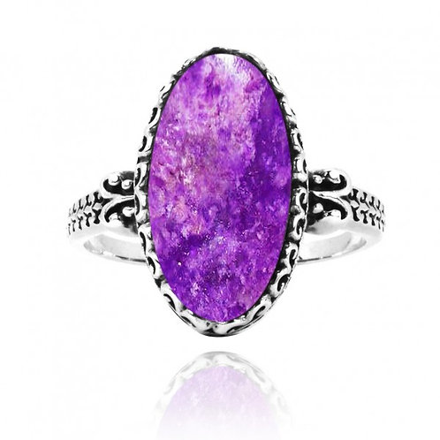 [NRB5213-SUG] Oval Shape Sugilite Solitaire Ring