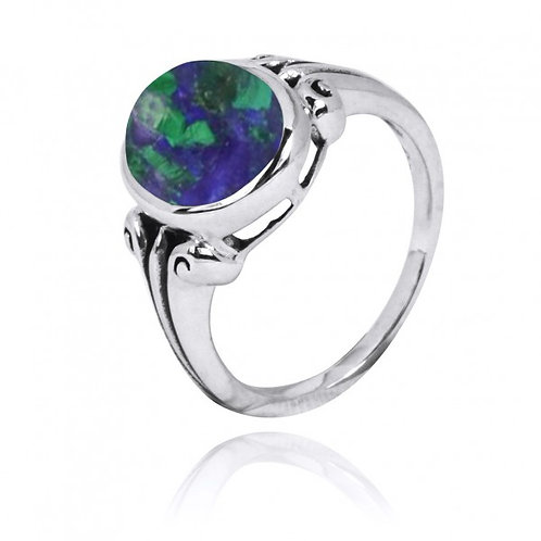 [NRB3631-AZM] Oval Shape Azurite malachite Gemstone Ring