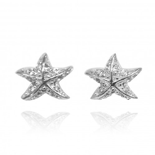 [NES3697-WHT] Sterling Silver Starfish Stud Earrings with White Topaz
