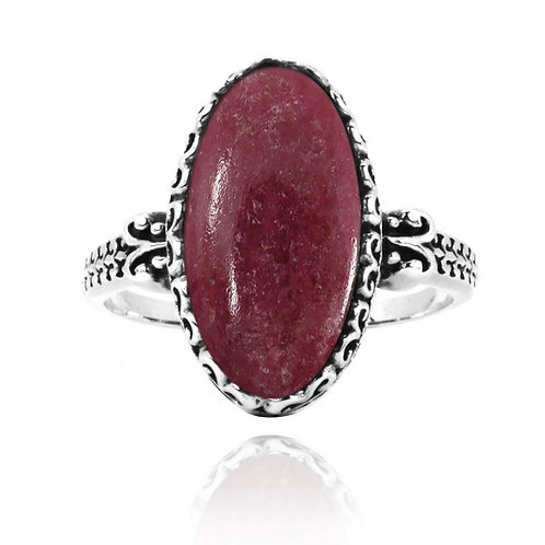 [NRB5213-RDN] Oval Shape Rhodonite Solitaire Ring