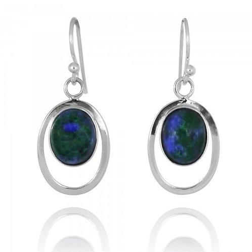 [NEA2722-AZM] Sterling Silver Oval Drop Earrings with Oval Shape Azurite Mala
