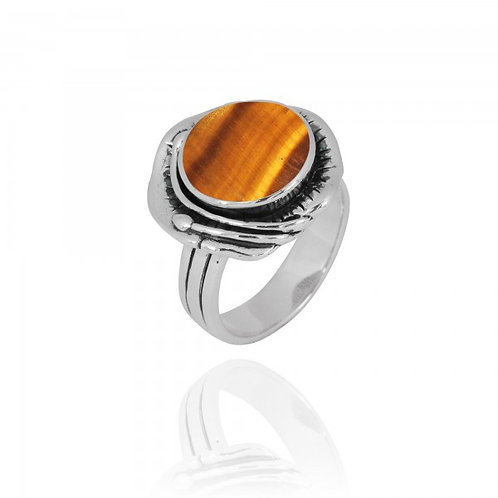 [NRB8800-BRTE] Round Shape Brown Tiger Eye Cocktail Ring
