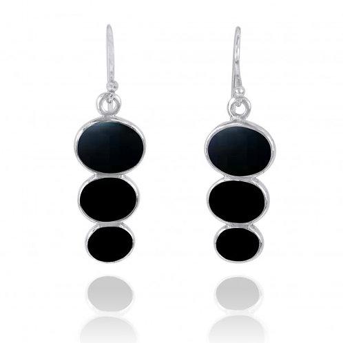 [NEA0331-BKON] Triple Oval Black Onyx Sterling Silver Drop Earrings