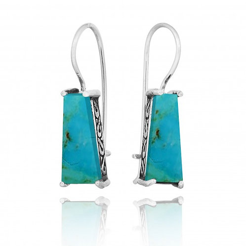 [NEA1496-GRTQ] Trapezoid Shape Compressed Turquoise Lever Back Earrings