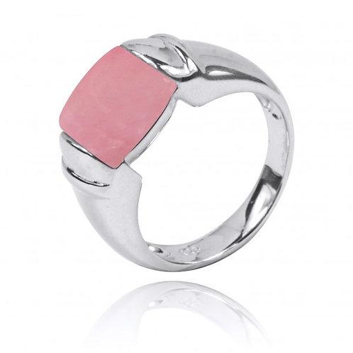 [NRB0764-PPKOP] Cushion Shape Peru pink opal Gemstone Ring