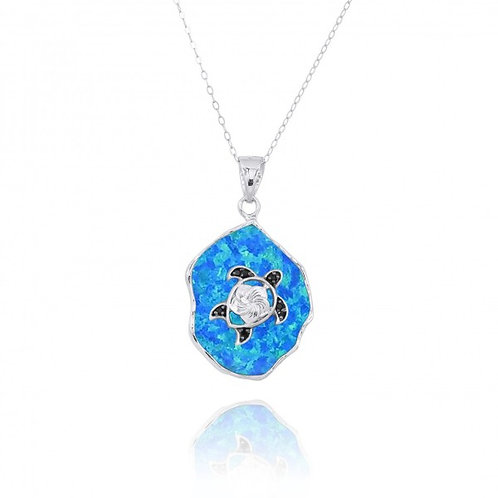 [NP11323-BLOP-BKSP] Blue Opal Pendant with Sterling Silver Turtle and Black Spin