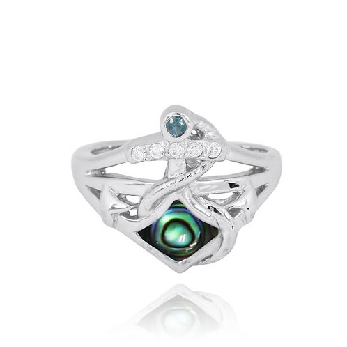 [NRB6918-ABL] Sterling Silver Anchor Ring with London Blue Topaz and White CZ