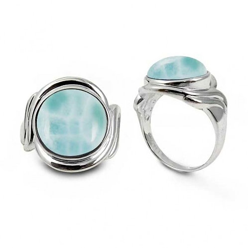 [NRB6617-LAR] Sterling Silver Ring with Round Larimar