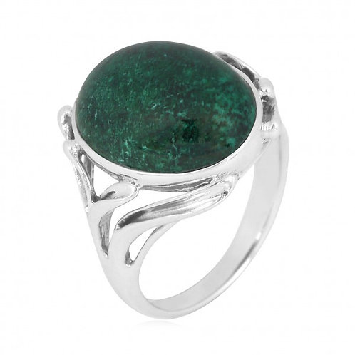 [NRB7477-CRY] Oval Shape Chrysocolla Cocktail, Statement Ring