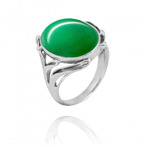 [NRB7477-CRP] Oval Shape Chrysoprase Cocktail, Statement Ring