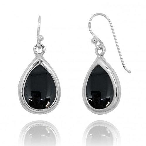 [NEA3266-BKON] Raindrop Shape Black Onyx Drop Earrings