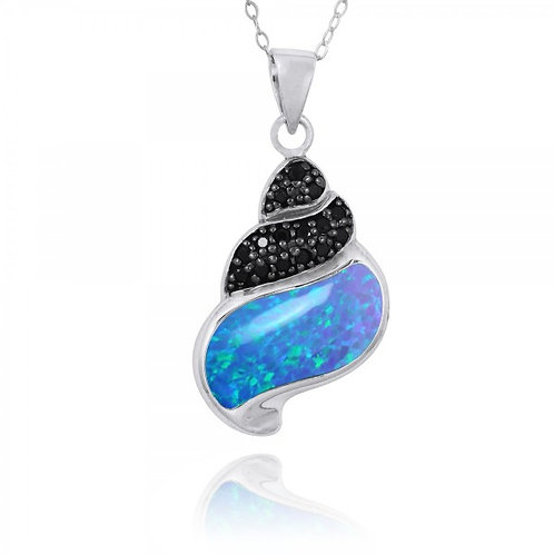 [NP11311-BLOP-BKSP] Sea Shell Pendant with Blue Opal and Black Spinel