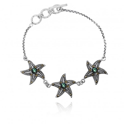 [NB1453-ABL-MRC] Triple Starfish with Abalon shell and Marcasite Sterling Silver