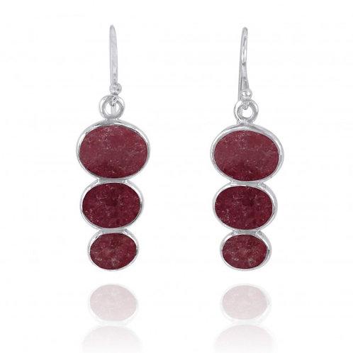 [NEA0331-RDN] Triple Oval Rhodonite Sterling Silver Drop Earrings