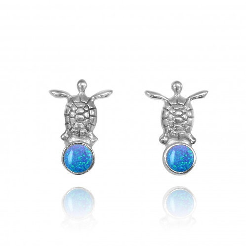 [NES3700-BLOP] Sterling Silver Turtle Stud Earrings with Round Blue Opal