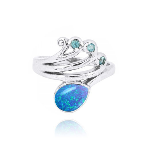 [NRB8367-BLOP] Sterling Silver Wave Ring with Swiss Blue Topaz Crests and Pear S
