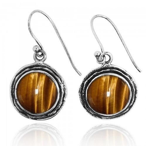 [NEA1968-BRTE] Tiger Eye Sterling Silver Drop Earrings
