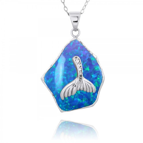 [NP11321-BLOP-WHCZ] Blue Opal Pendant with Sterling Silver Whale Tail and Whi