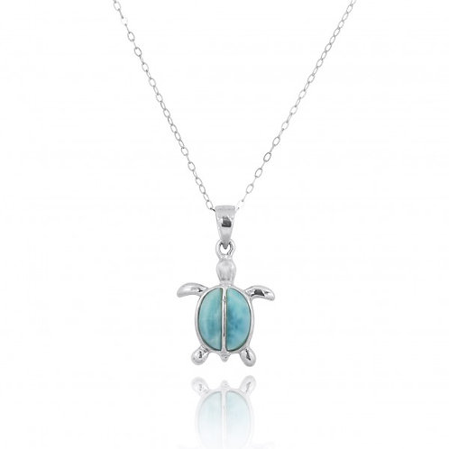 [NP10918-LAR] Sterling Silver Turtle with 2 Larimar Stones Pendant