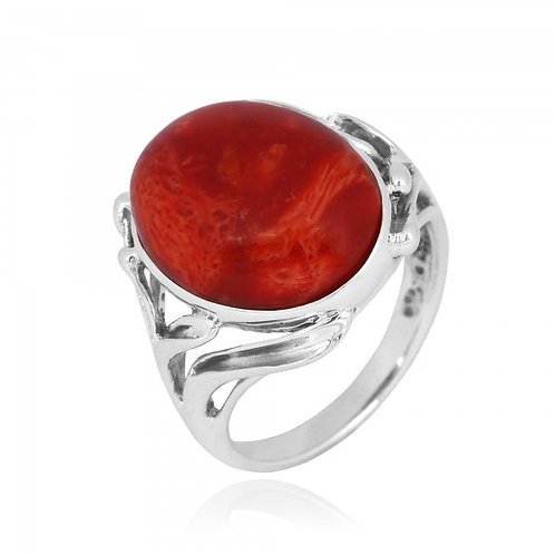 [NRB7477-SPC] Oval Shape Sponge coral Cocktail , Engagement Ring