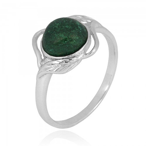 [NRB7481-CRY] Sterling Silver Chrysocolla Ring with Leaf Patterns