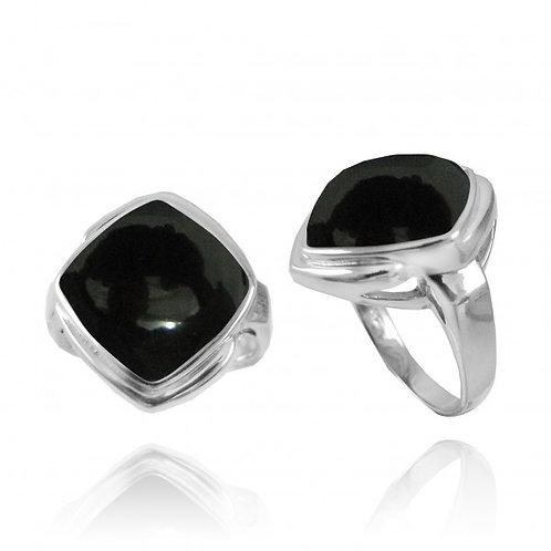 [NRB6809-BKON] Cushion Shape Black Onyx Gemstone Ring