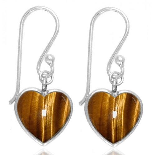 [NEA0242-BRTE] Heart Shape Brown Tiger Eye Drop Earrings