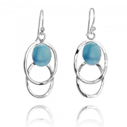 [NEA1852-LAR] Double Silver Oval Hoop Drop Earrings with Larimar