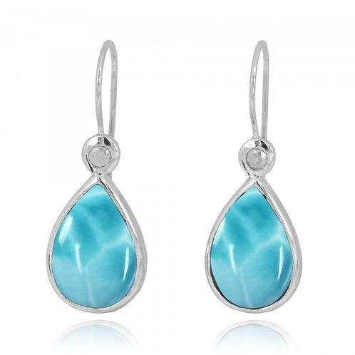 [NEA2189-LAR-WHT] Pear Shape Larimar French Wire Earrings