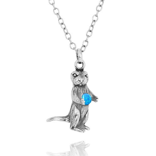[NP12861-BLOP] Sea Otter Holding Round Blue Opal Oxidized Silver Pendant