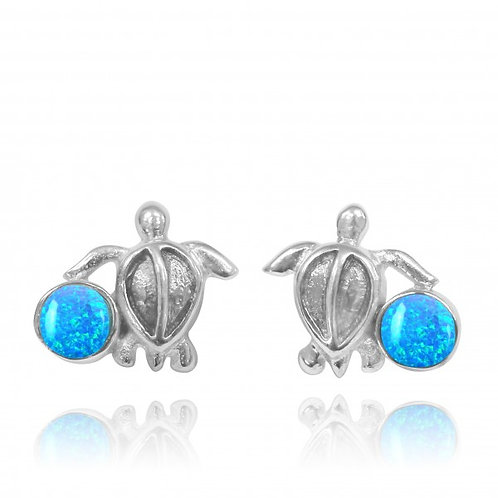 [NES3705-BLOP] Sterling Silver Turtle Stud Earrings with Round Blue Opal