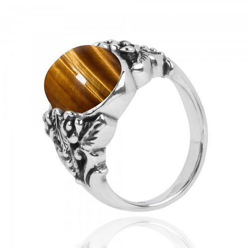 [NRB5097-BRTE] Oval Shape Brown Tiger Eye Statement Ring