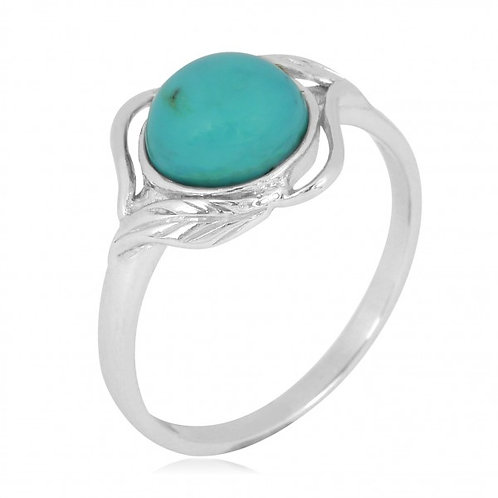 [NRB7481-STQ] Sterling Silver Stabilized Turquoise Ring with Leaf Patterns